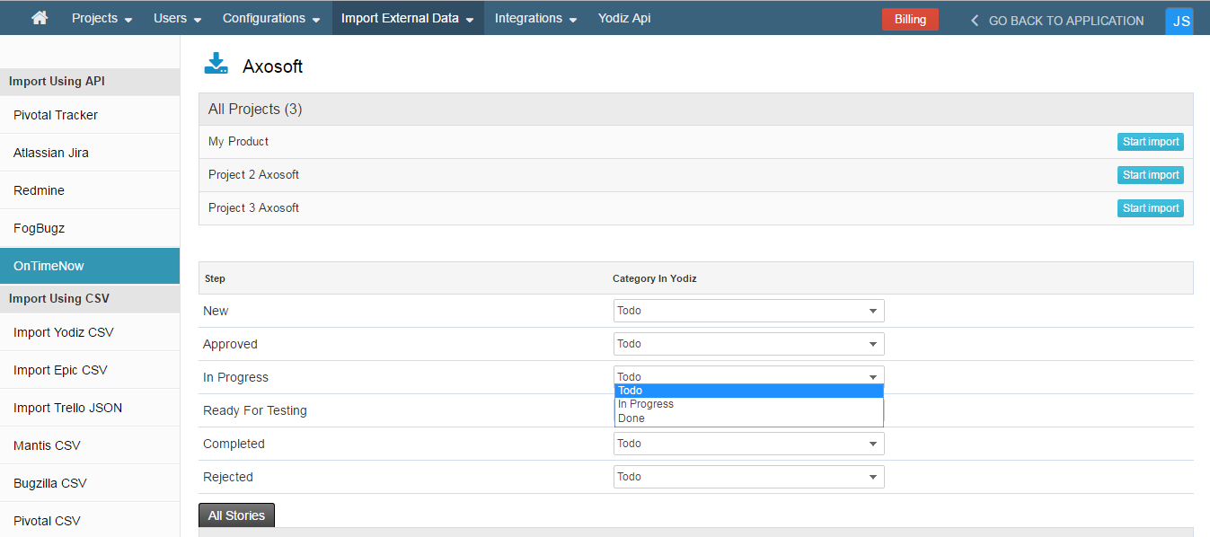 select-catgories-in-yodiz-for-axosoft-project-data