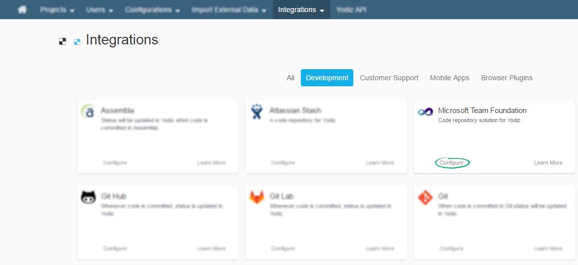 TFS-on-Yodiz-Integration-Page