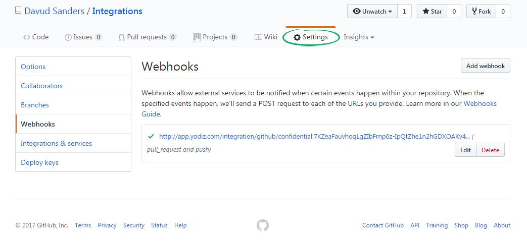 Github-Webhooks-settings