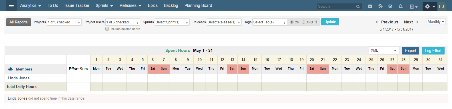 time sheet access and functionality agile development project