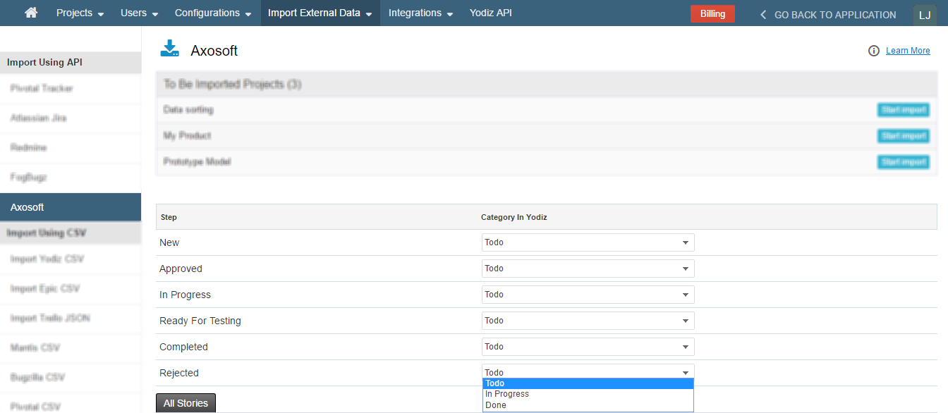 Axosoft-Items-Mapping