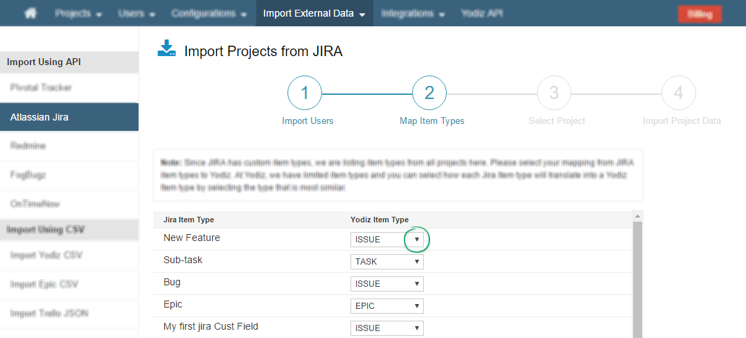 Import-Project-data-Mapping