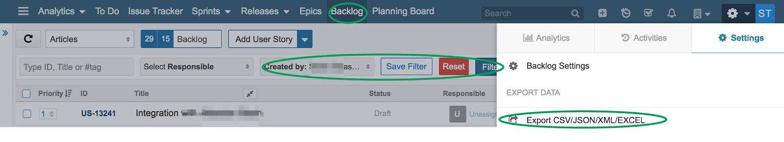 Backlog-Filters-Export