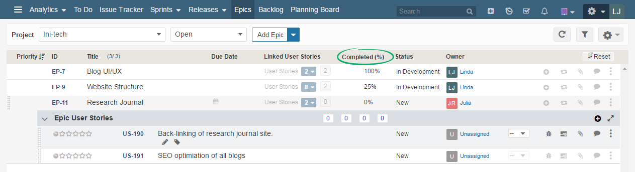 View Details of Epic associated User Stories