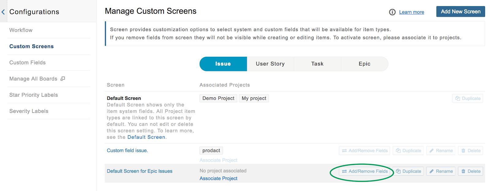 manage custom screen page