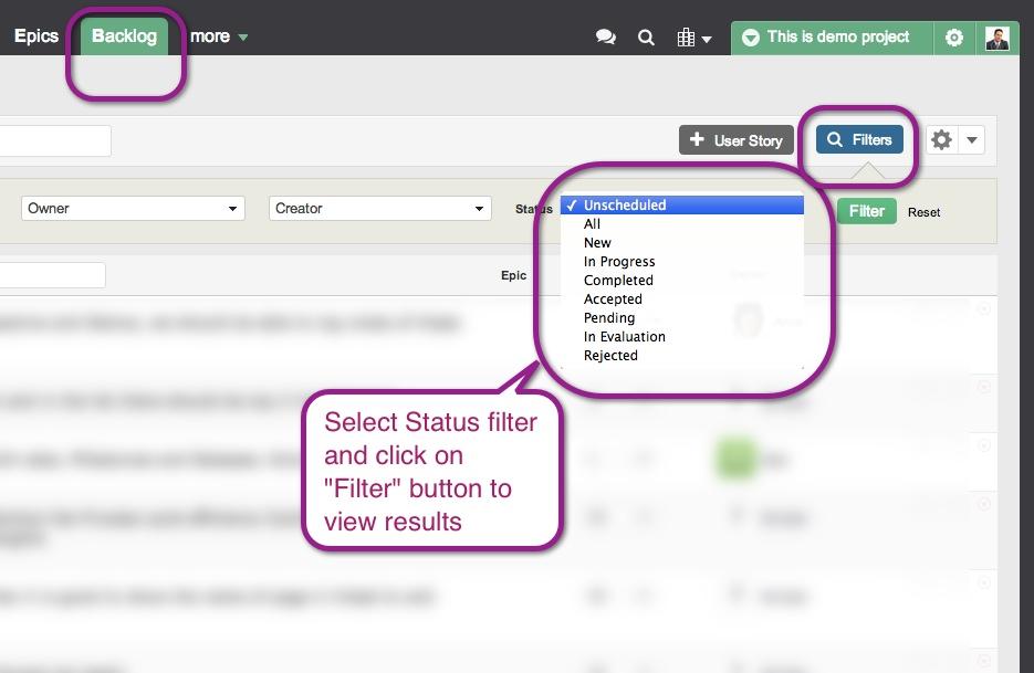 Yodiz-Product-Backlog-Filter-User-Stories-export