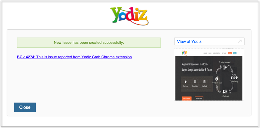 yodiz-grab-chrome-report-new-issue-confirmation