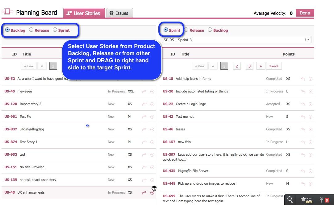 Yodiz Plan Existing User Stories